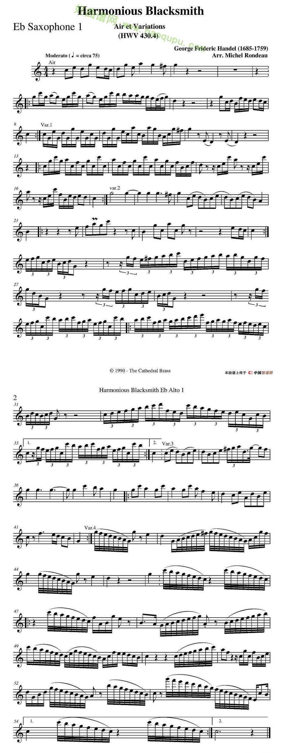 《Harmonious Blacksmith》(快乐的铁匠)(四重奏分谱)萨克斯简谱第1张