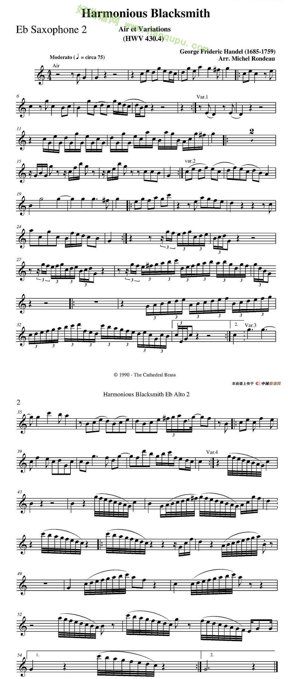 《Harmonious Blacksmith》(快乐的铁匠)(四重奏分谱)萨克斯简谱第2张