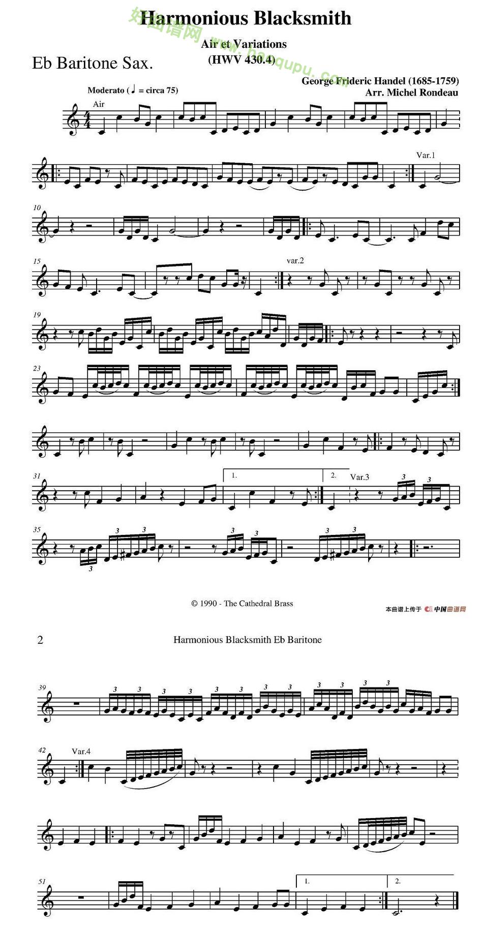 《Harmonious Blacksmith》(快乐的铁匠)(四重奏分谱)萨克斯简谱第3张