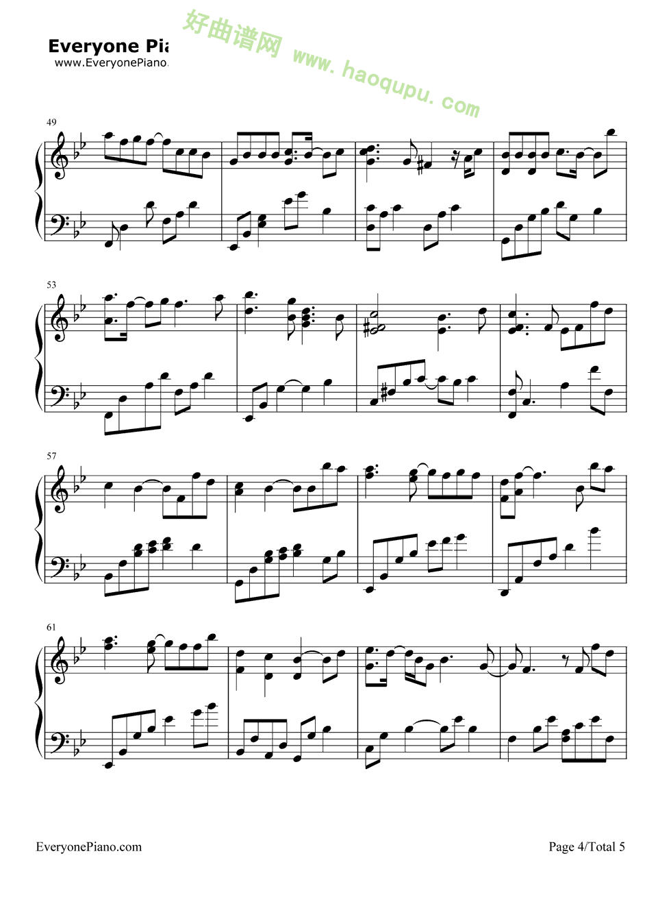 我愿意 王菲演唱 钢琴谱