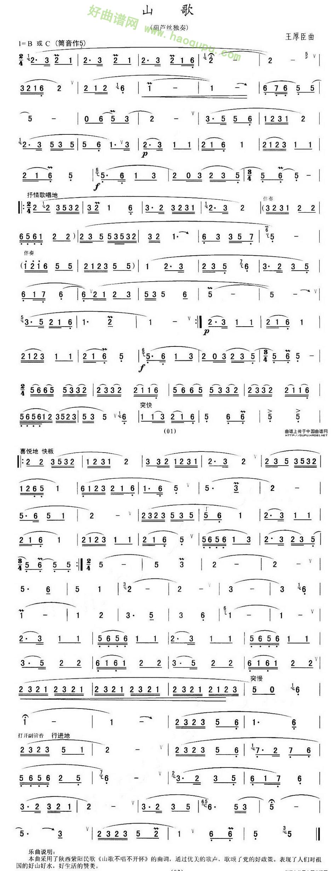 《山歌》(王厚臣作曲版)葫芦丝曲谱第1张