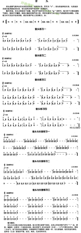 《葫芦丝技巧练习曲音头》葫芦丝曲谱第1张