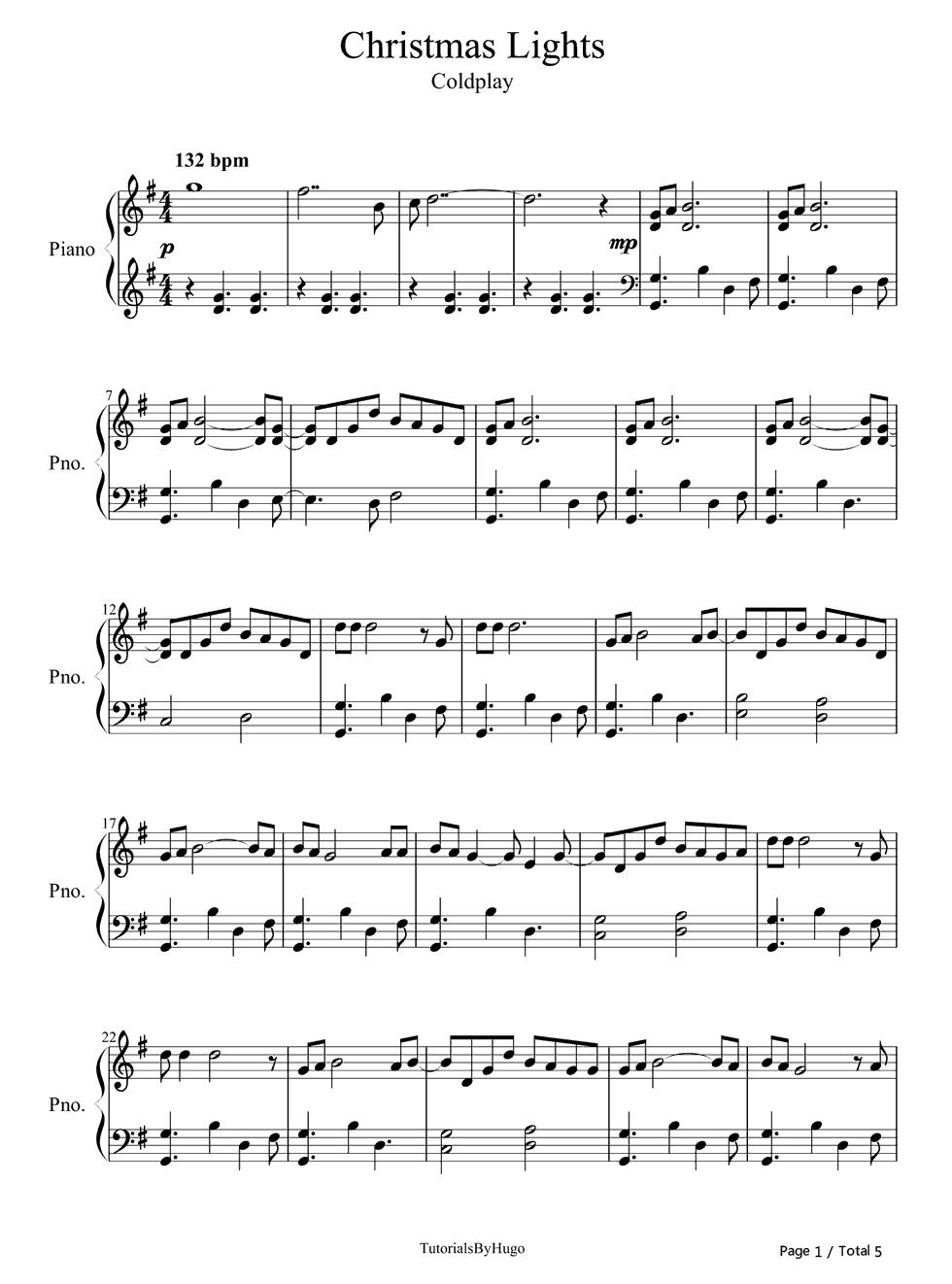 istmas Lights Coldplay演唱 钢琴谱