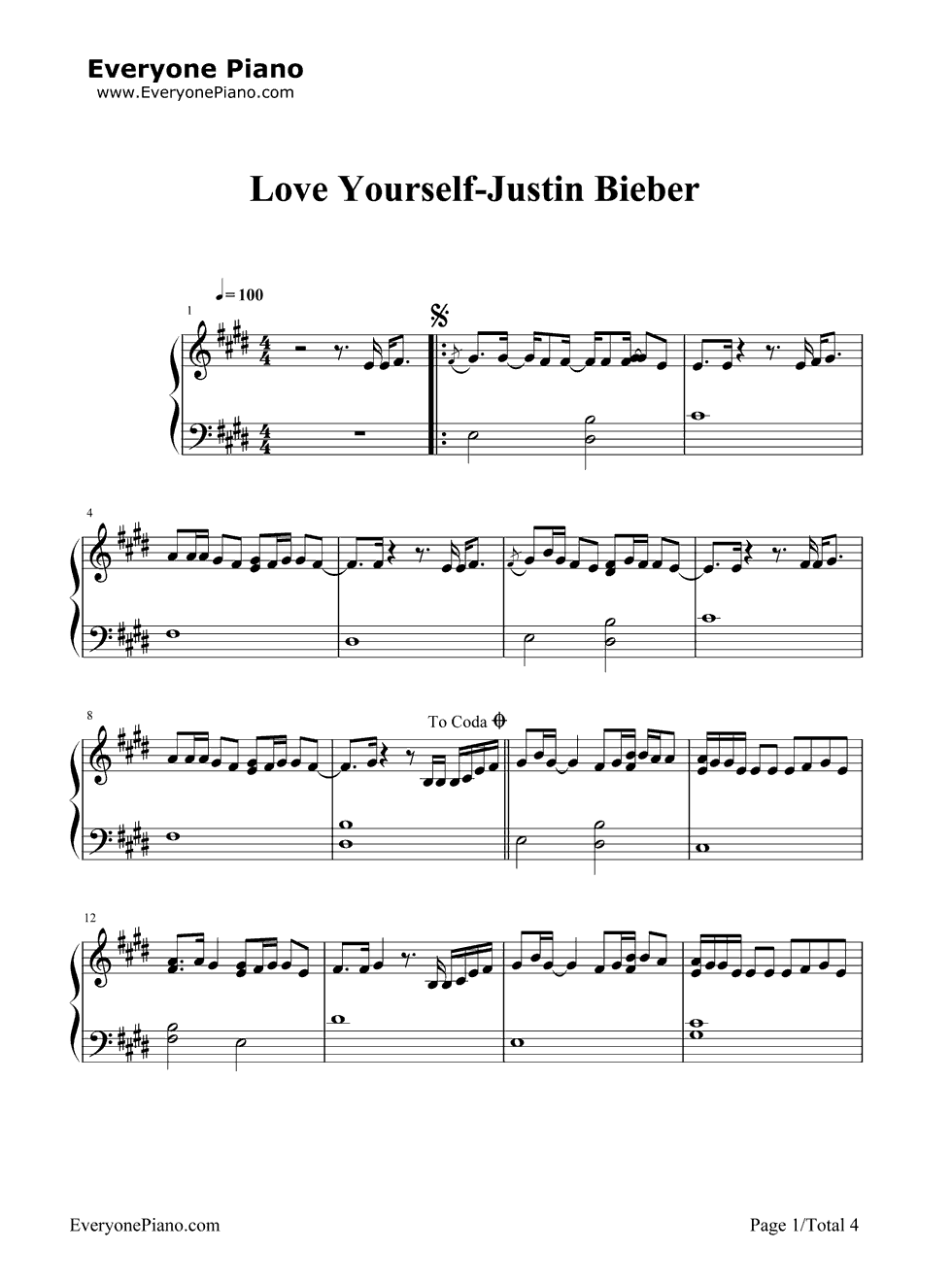 Love Yourself Justin Bieber演唱 钢琴谱