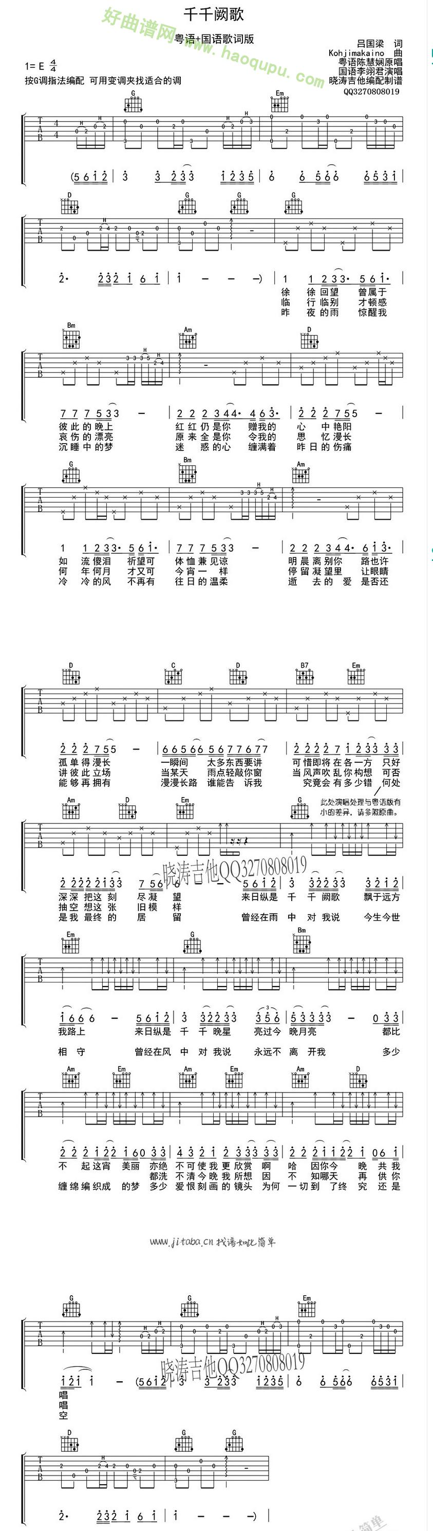 《千千阙歌》(陈慧娴演唱) 吉他谱第1张