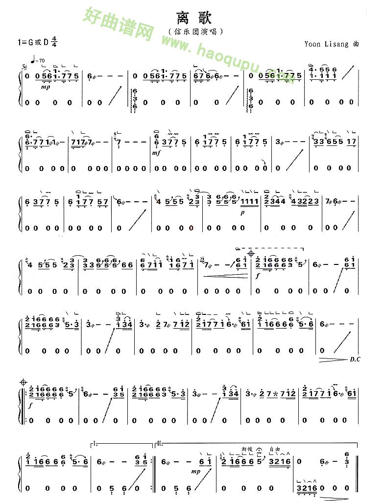 《离歌》 古筝曲谱第1张
