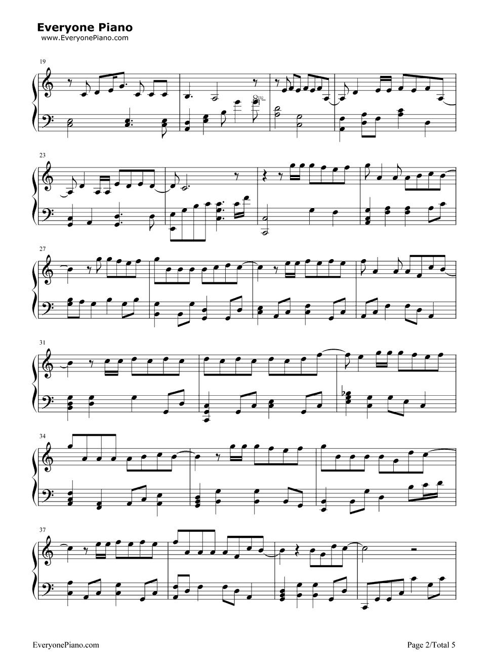 《演员》(薛之谦演唱) 钢琴谱第2张