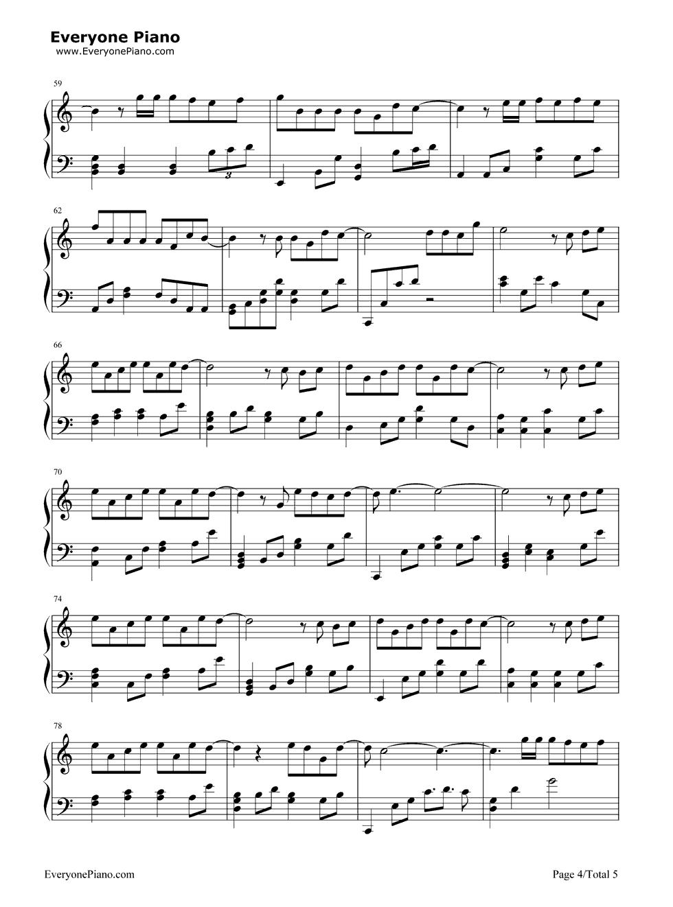 《演员》(薛之谦演唱) 钢琴谱第4张