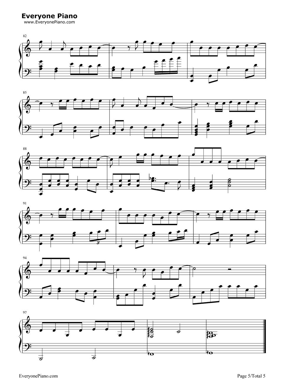 《演员》(薛之谦演唱) 钢琴谱第5张