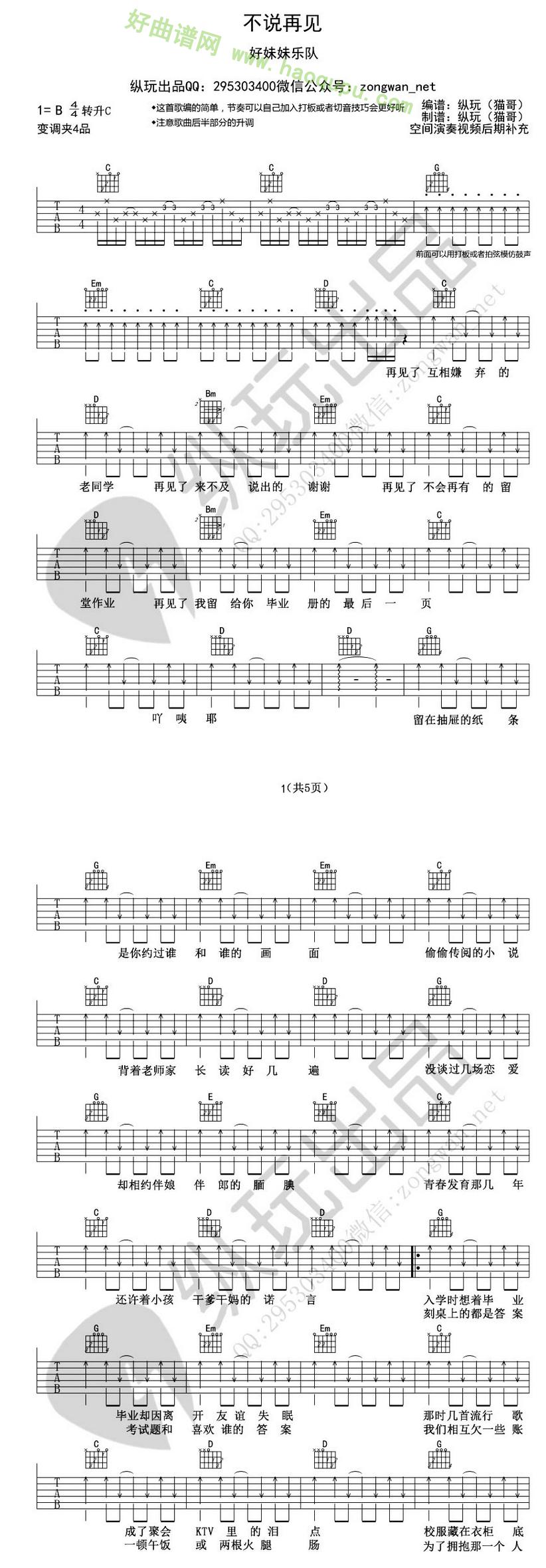 《不说再见》(好妹妹乐队演唱)吉他谱第1张