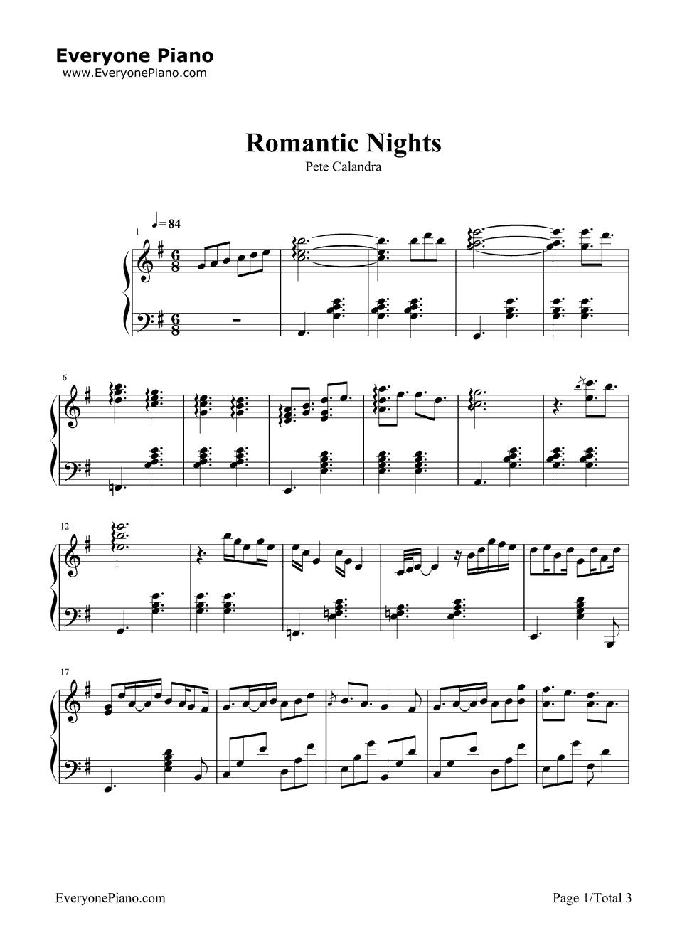 《Romantic Nights》(爱情公寓插曲)钢琴谱第1张