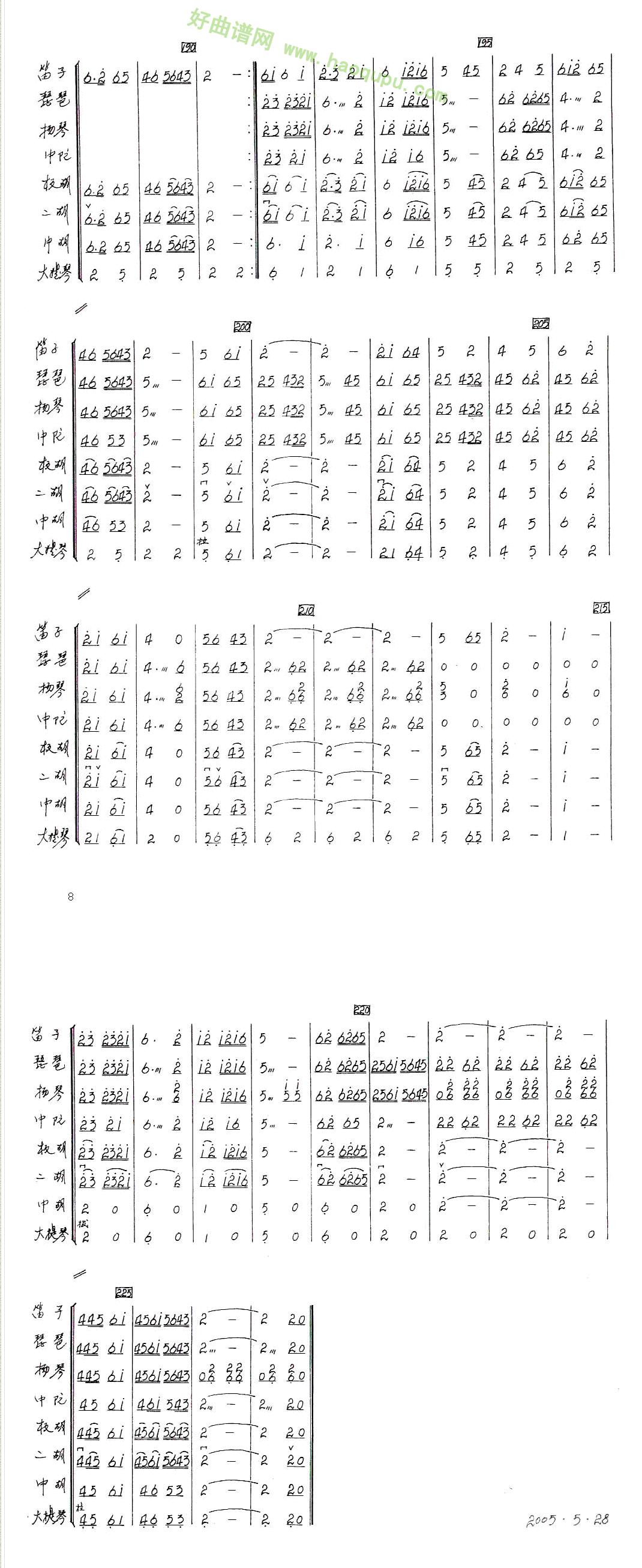 《花儿与少年》(小合奏)管乐总谱第5张