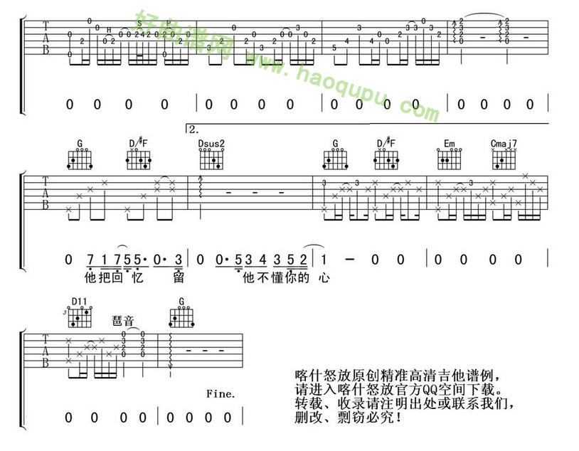 《他不懂》(张杰演唱)吉他谱第2张