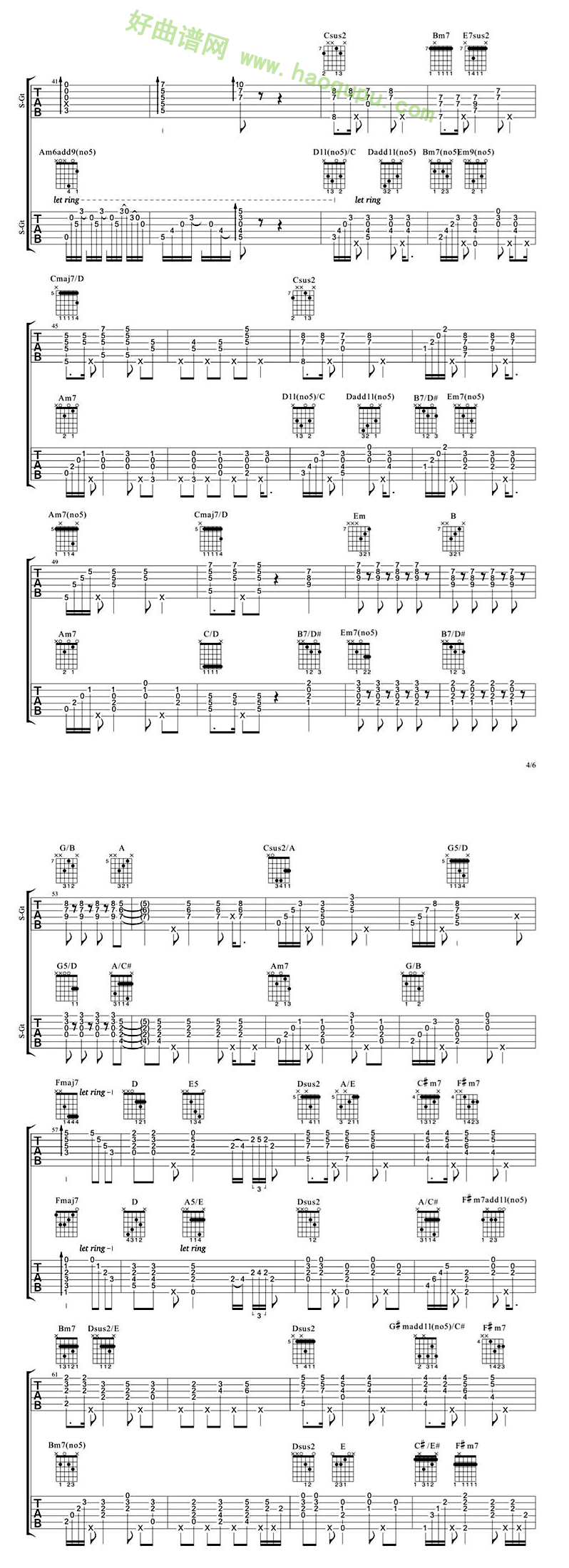 《致爱》(鹿晗演唱) 吉他谱第3张