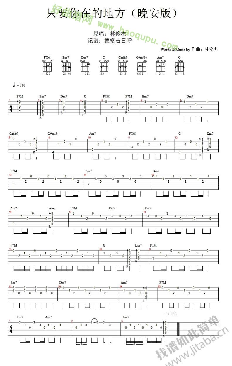林俊杰演唱) - 吉他谱