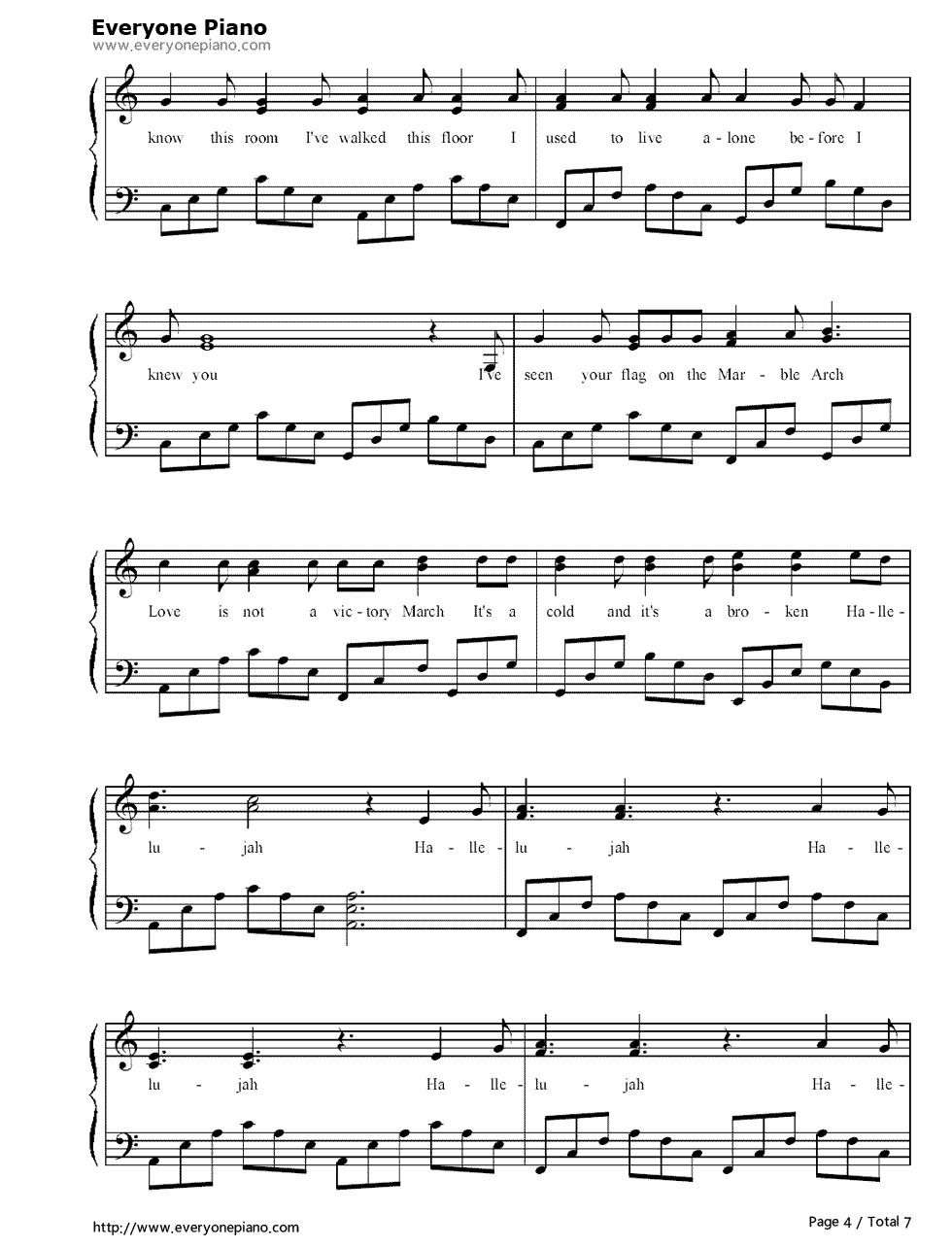 哈利路亚蔡琴曲谱-Hallelujah Jeff Buckley演唱 钢琴谱