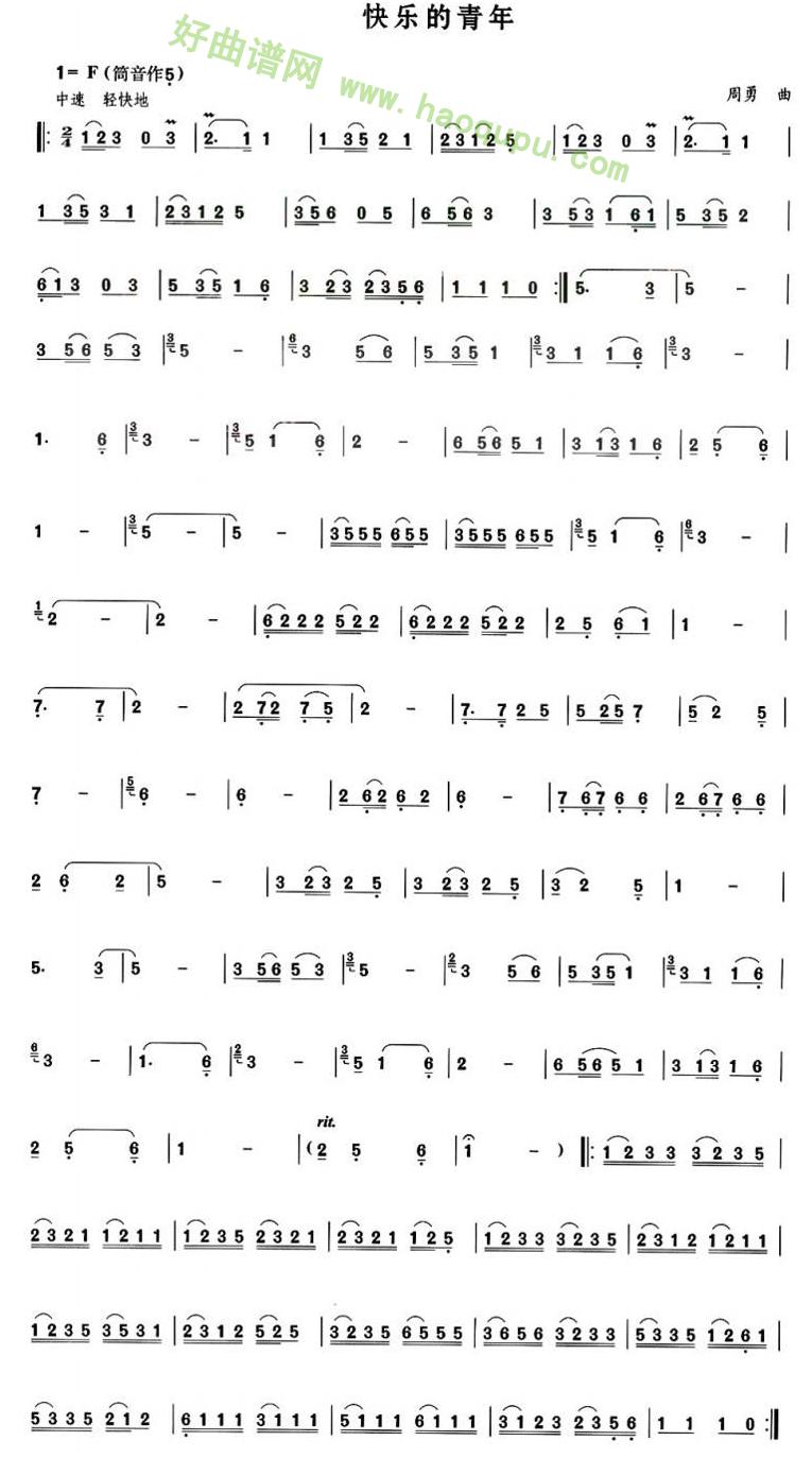《快乐的青年》 - 葫芦丝曲谱