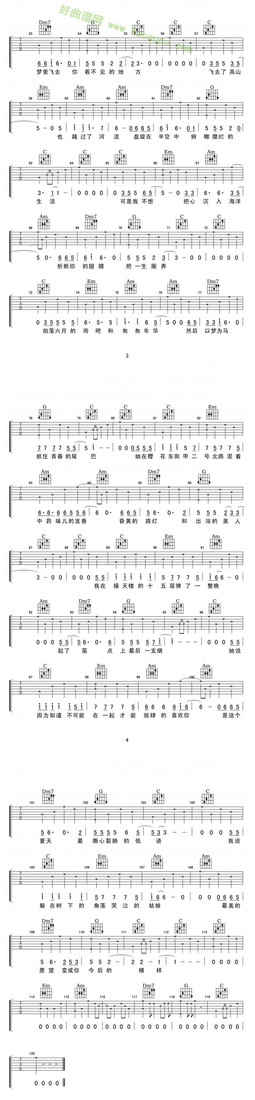 《樱花东街甲2号》(奥博演唱) - 吉他谱_吉他曲谱