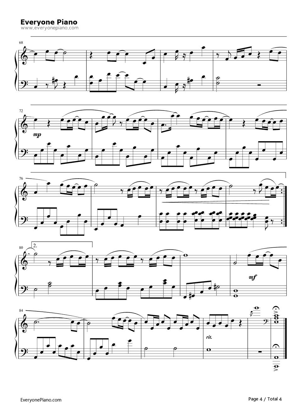 《可惜没如果》(林俊杰演唱)钢琴谱第4张