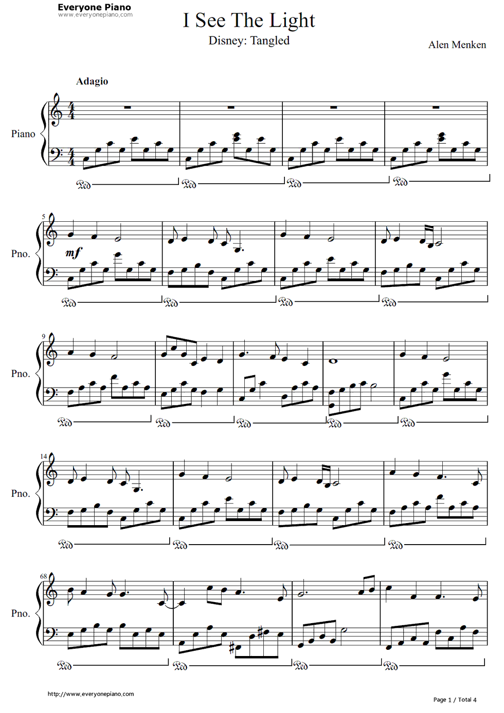 《I See the Light》(魔发奇缘主题曲)钢琴谱第1张