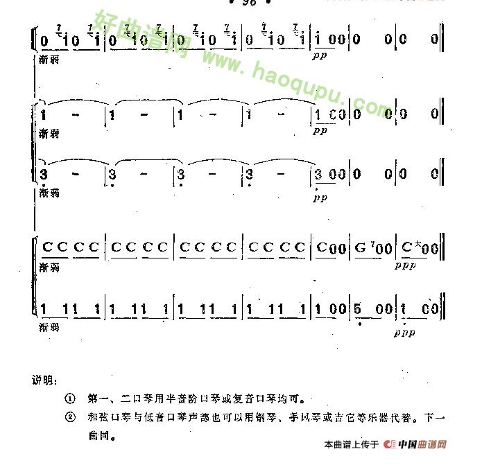 《邮递马车》(五重奏、李复东改编版)口琴简谱第6张