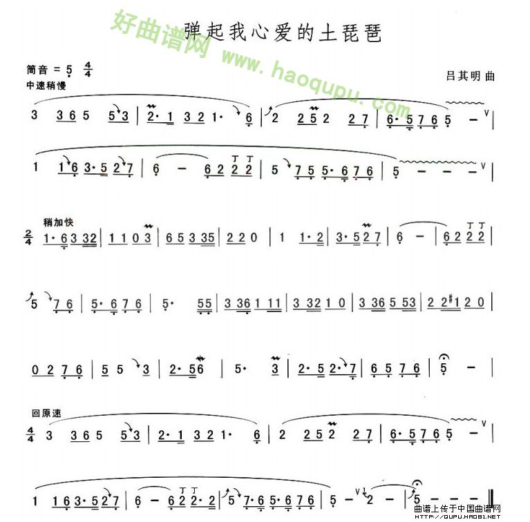《弹起我心爱的土琵琶》 葫芦丝曲谱第1张
