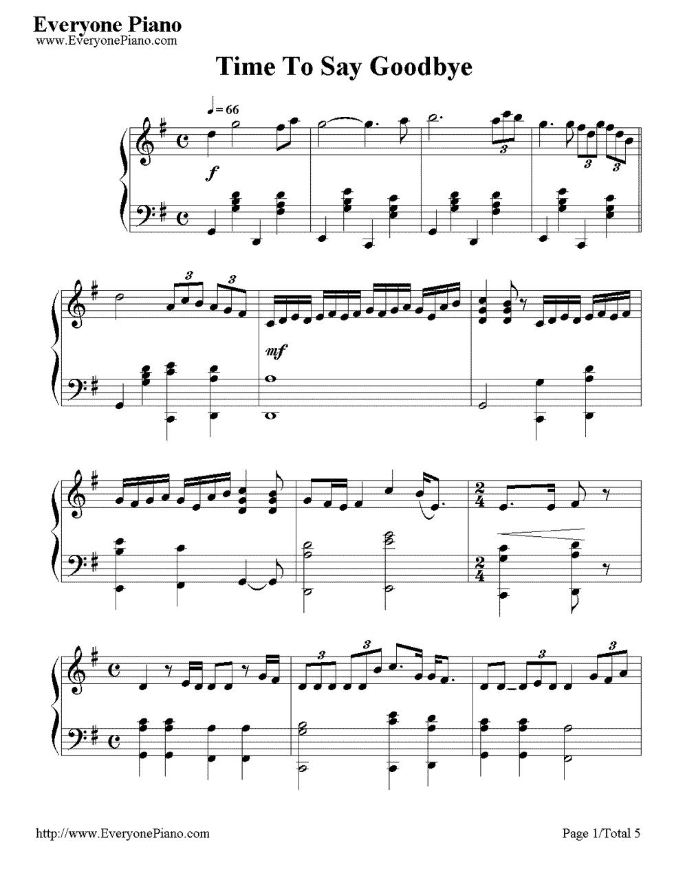 《Time to Say Goodbye》(告别的时刻)钢琴谱第1张