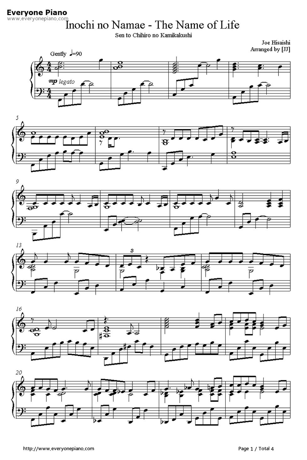 《千与千寻主题歌》 - 钢琴谱_钢琴曲谱_钢琴歌谱