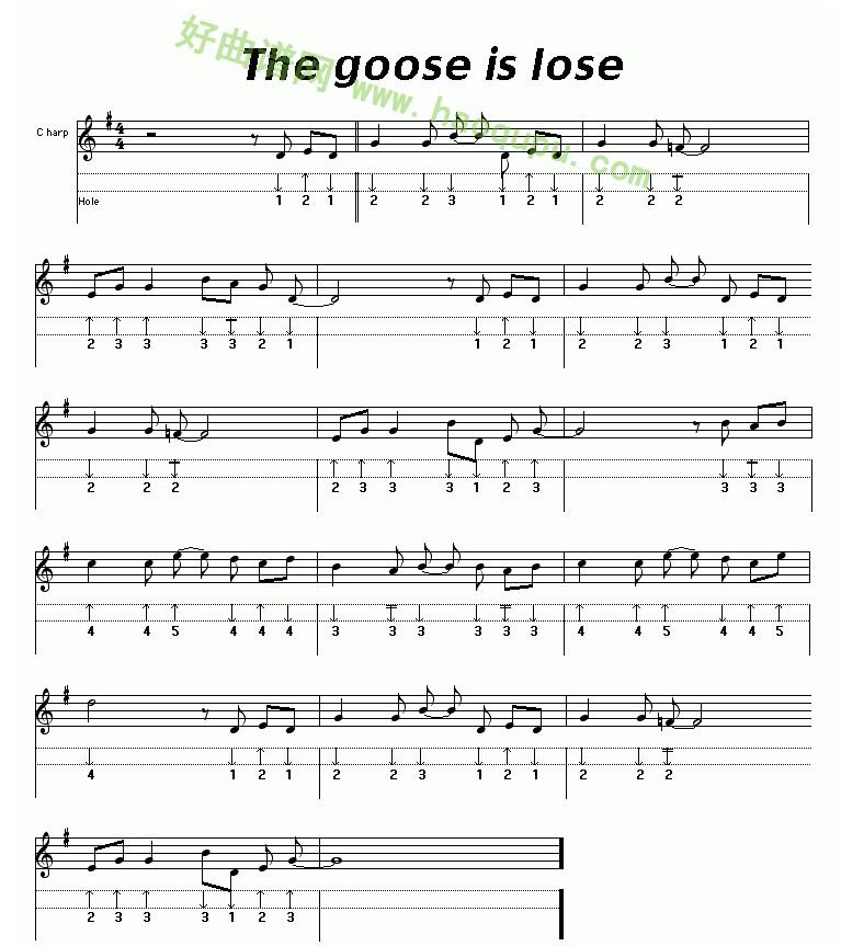 《The goose is lose》(布鲁斯)口琴简谱第1张