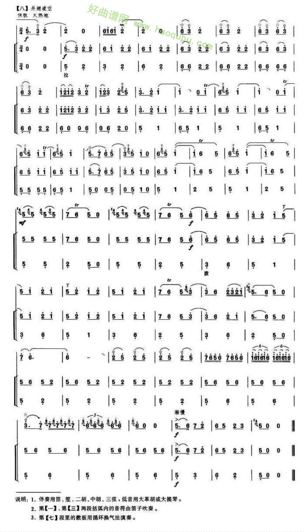 《百鸟朝凤》(完整版)(8)管乐总谱第1张