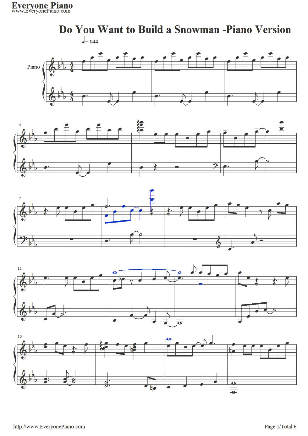 《冰雪奇缘插曲》 钢琴谱第1张
