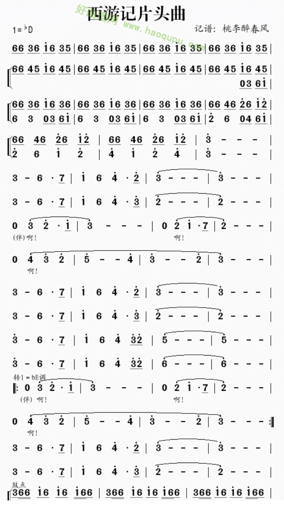《西游记片头曲》 电子琴简谱第1张
