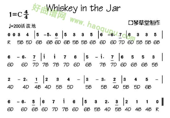 《Whiskey in the Jar》(布鲁斯口琴谱)口琴简谱第1张