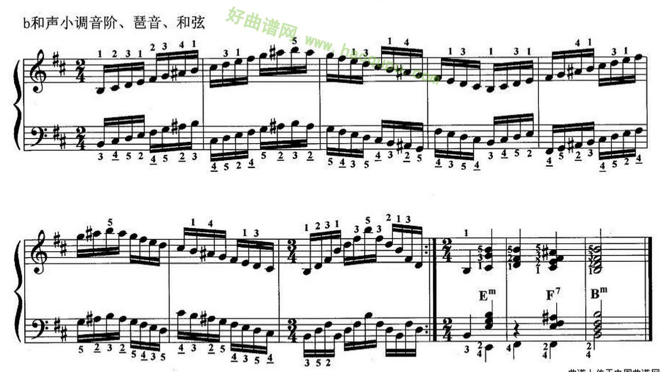 《手风琴考级第四级:1、基本练习》手风琴曲谱第2张