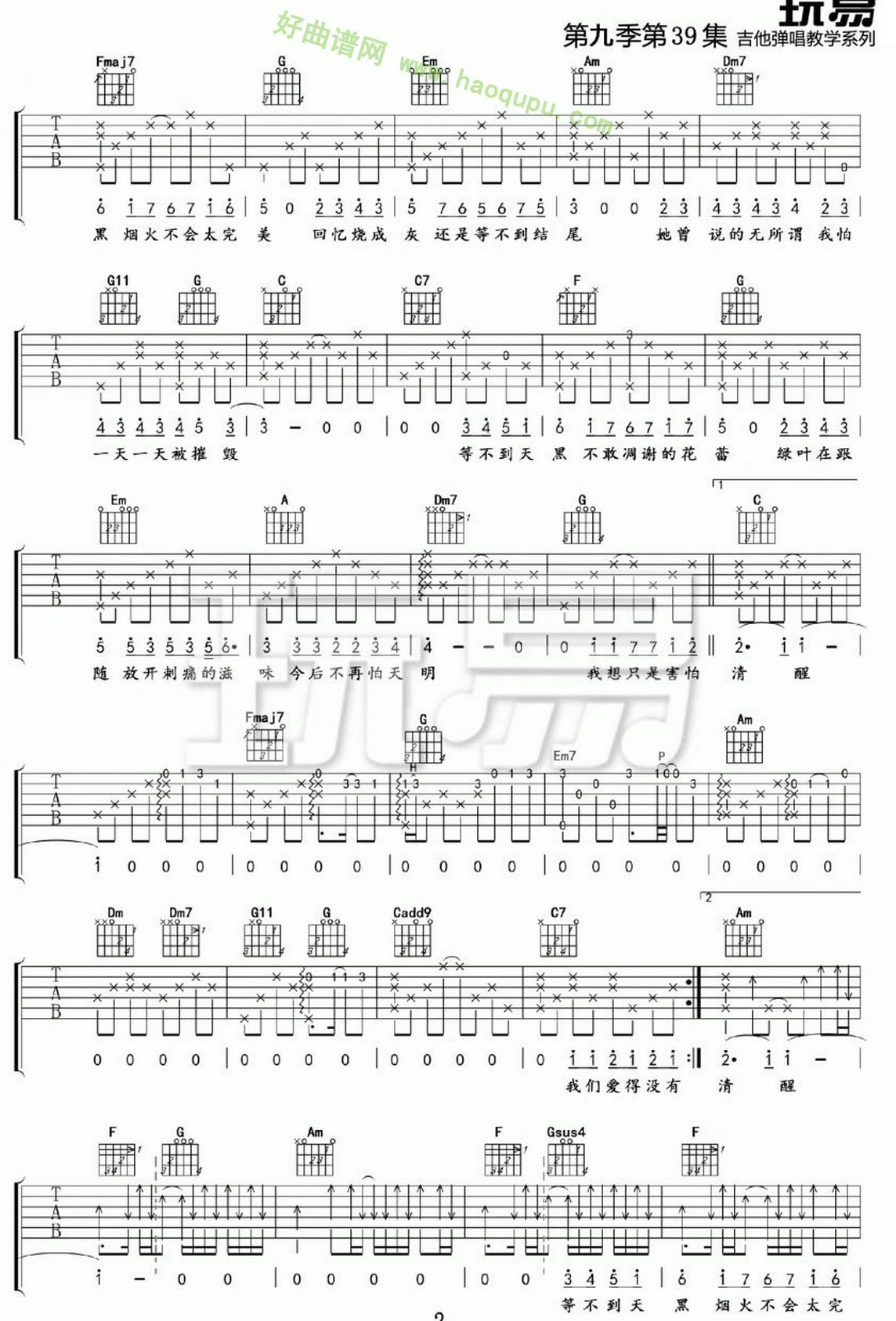 《她说》(张碧晨演唱)吉他谱第2张