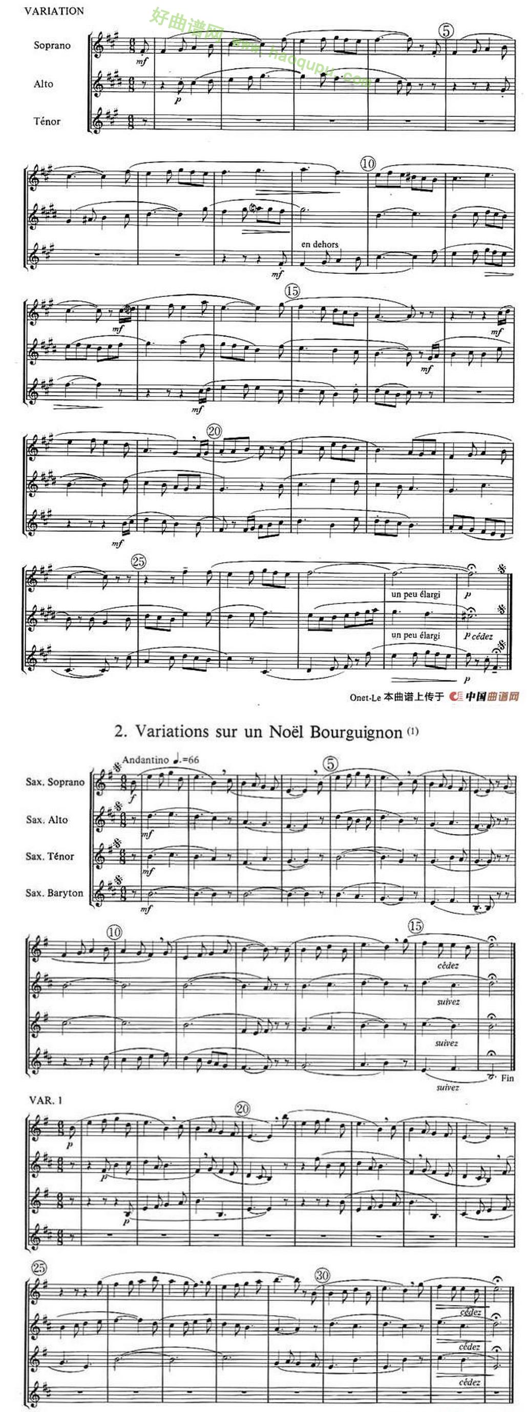 《noels》(萨克斯合奏)萨克斯简谱第3张
