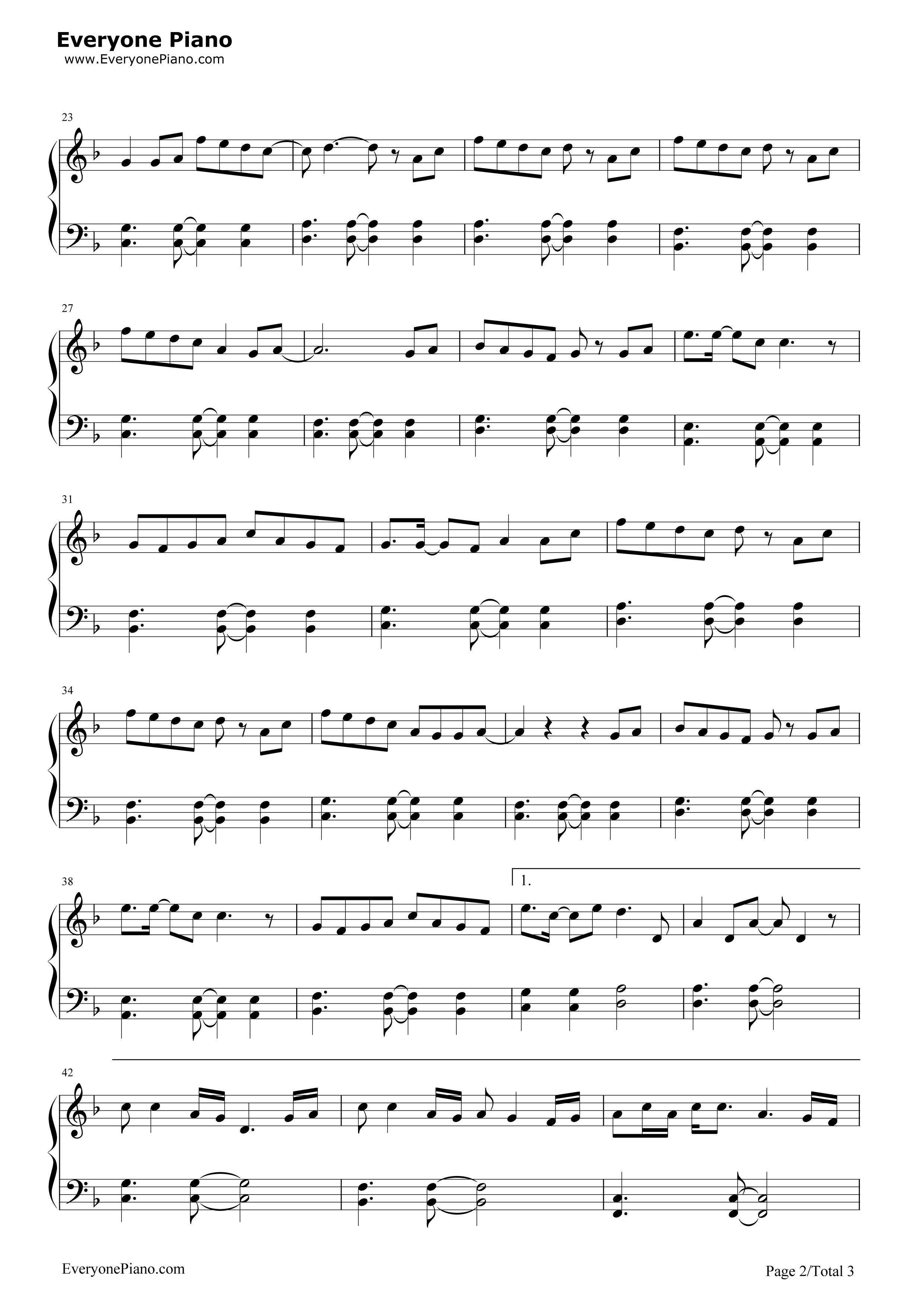 《我不是潘金莲》(张地演唱)钢琴谱第2张