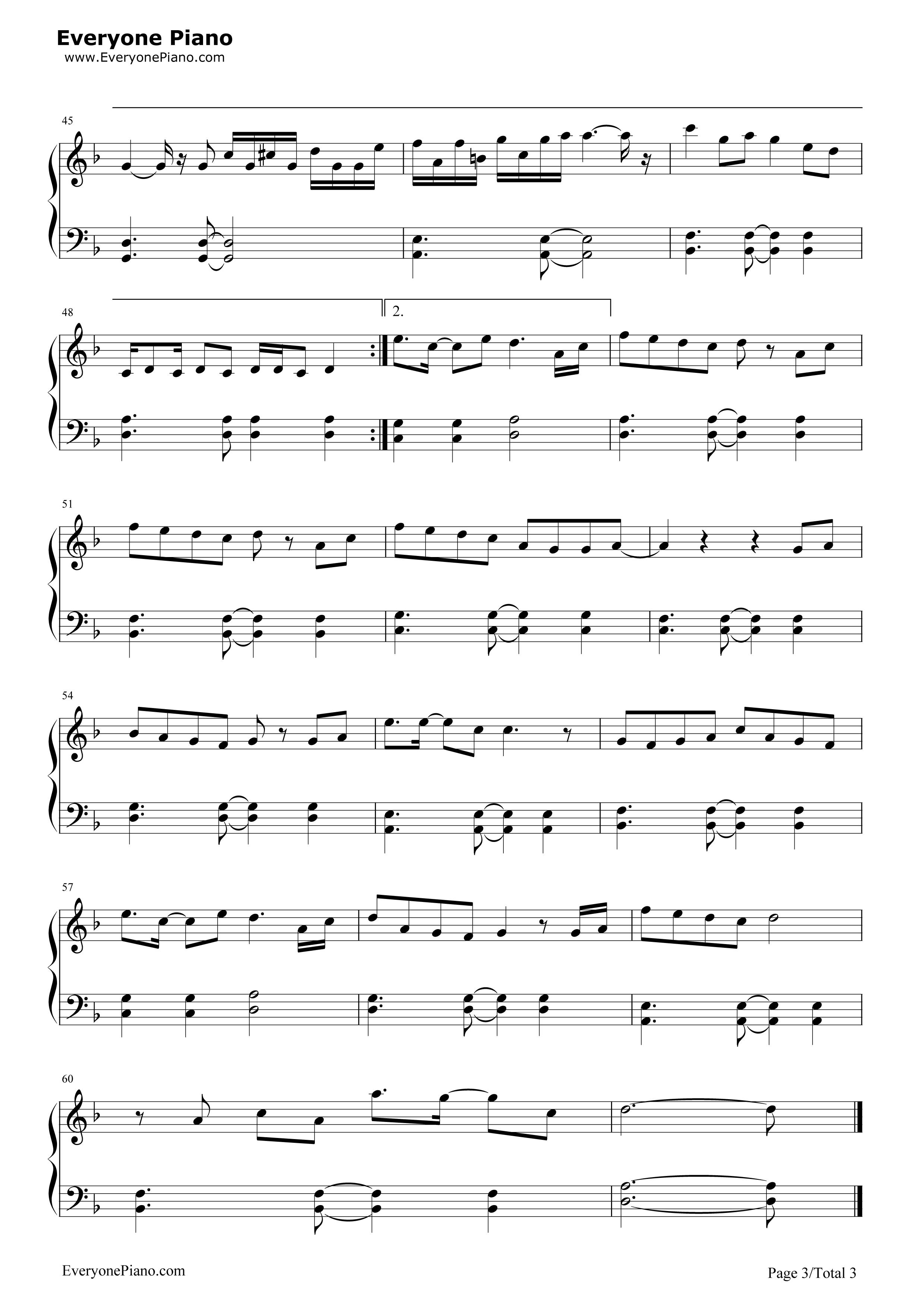 《我不是潘金莲》(张地演唱)钢琴谱第3张