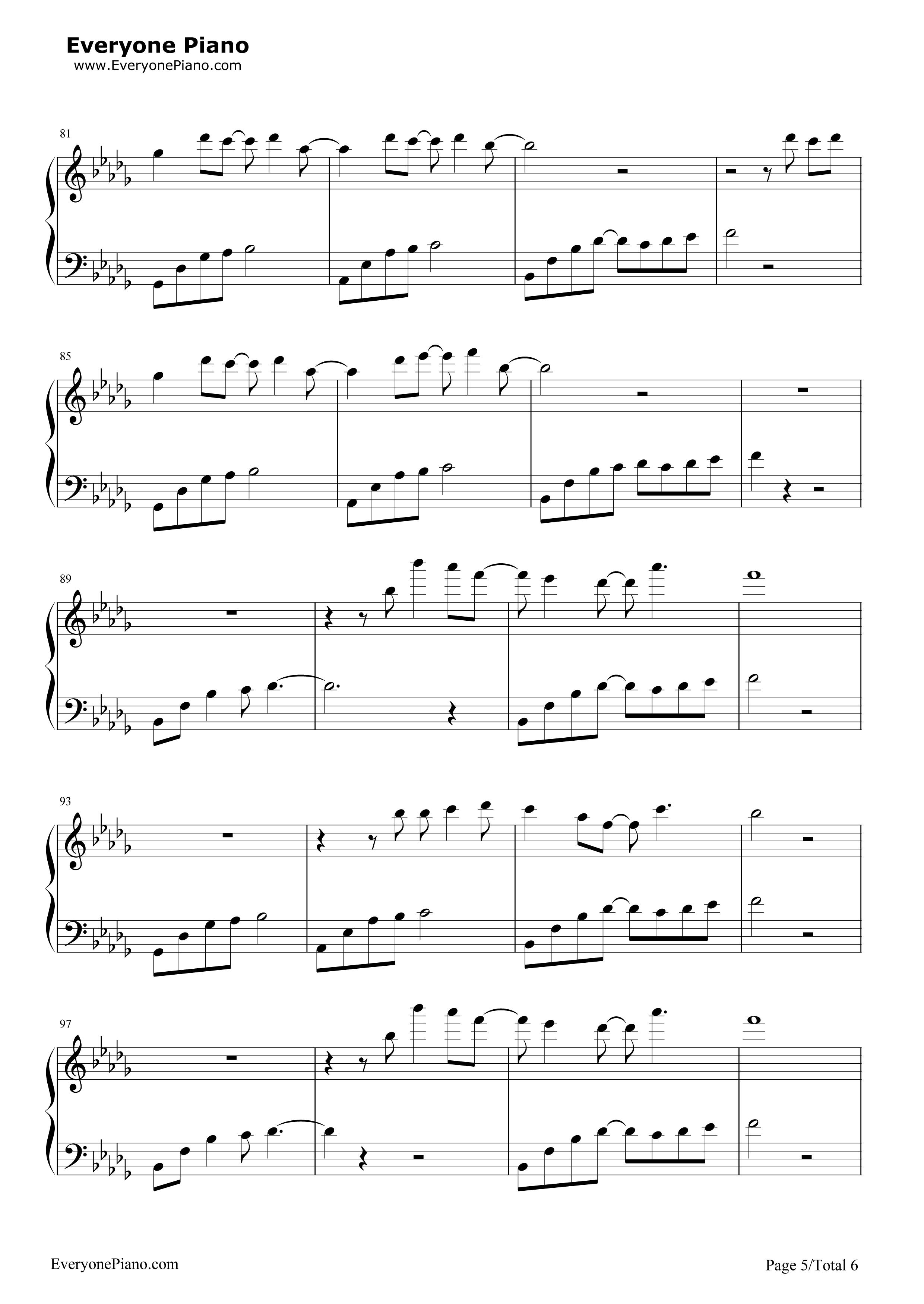 《我好像在哪见过你》(《精灵王座》主题曲)钢琴谱第5张
