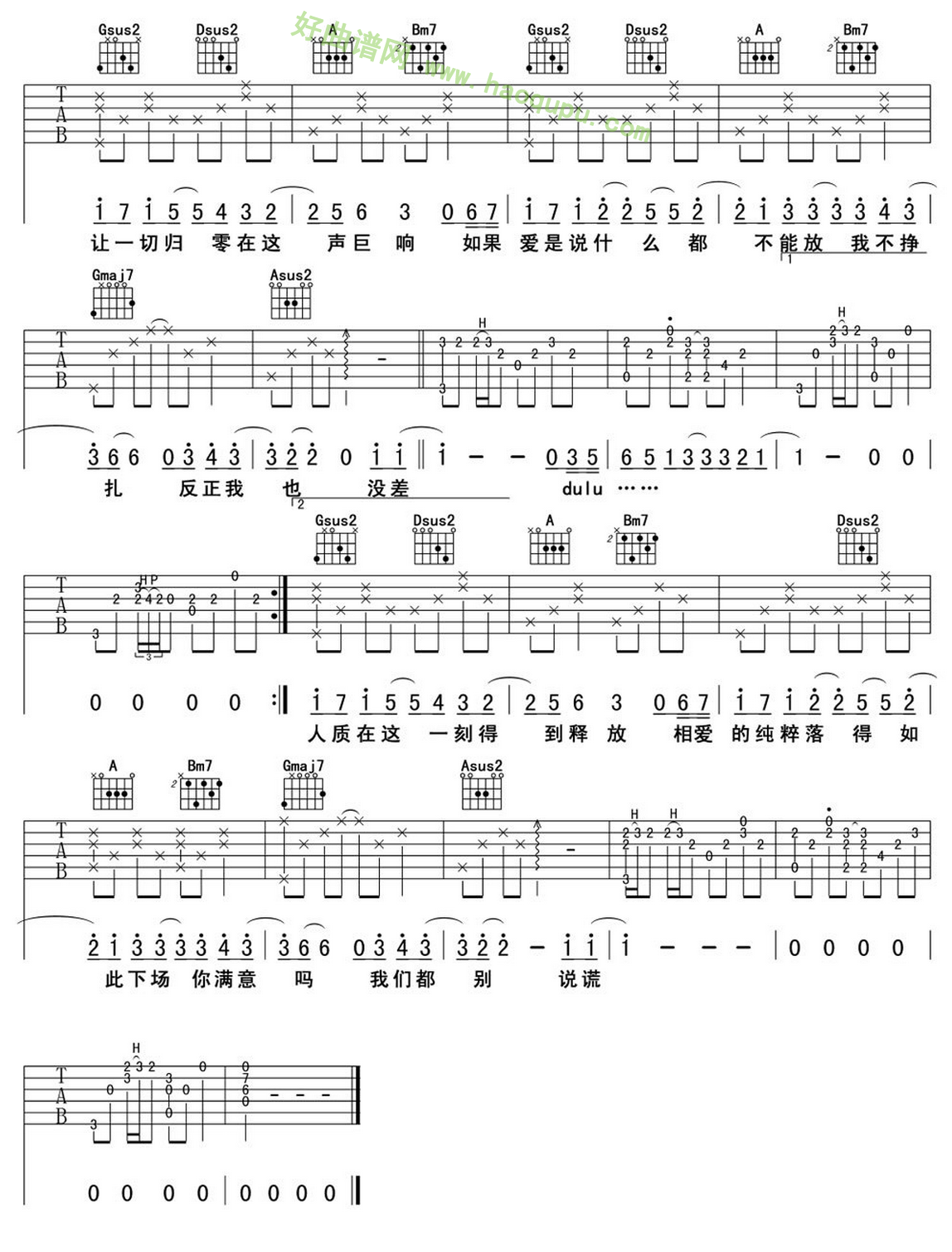 《人质》(张惠妹演唱)吉他谱第2张