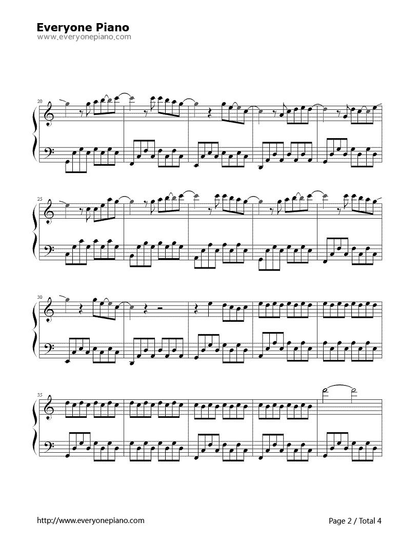 《明天你好》(牛奶咖啡演唱)钢琴谱第2张