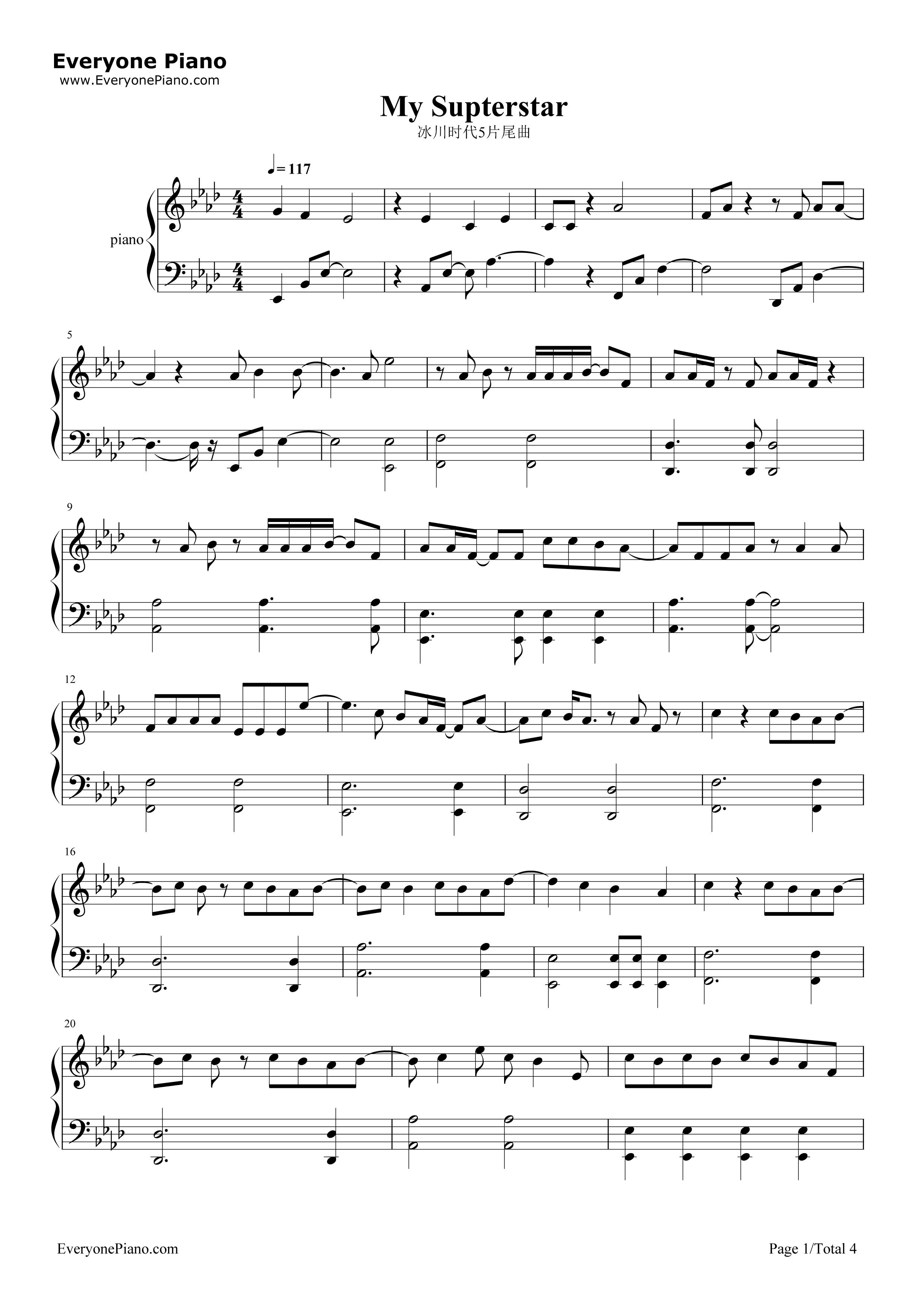 《My Superstar》(冰川时代5片尾曲)钢琴谱第1张