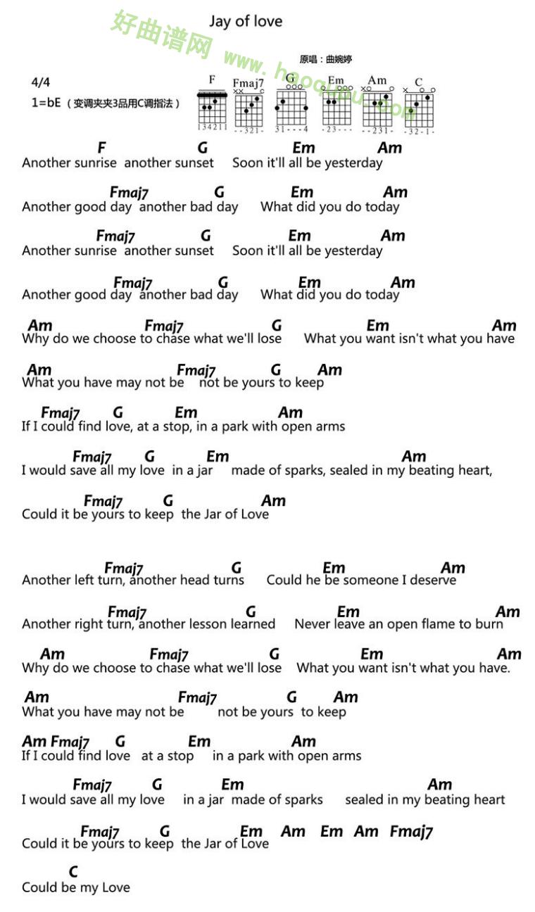 《Jar of Love》(曲婉婷演唱)吉他谱第1张