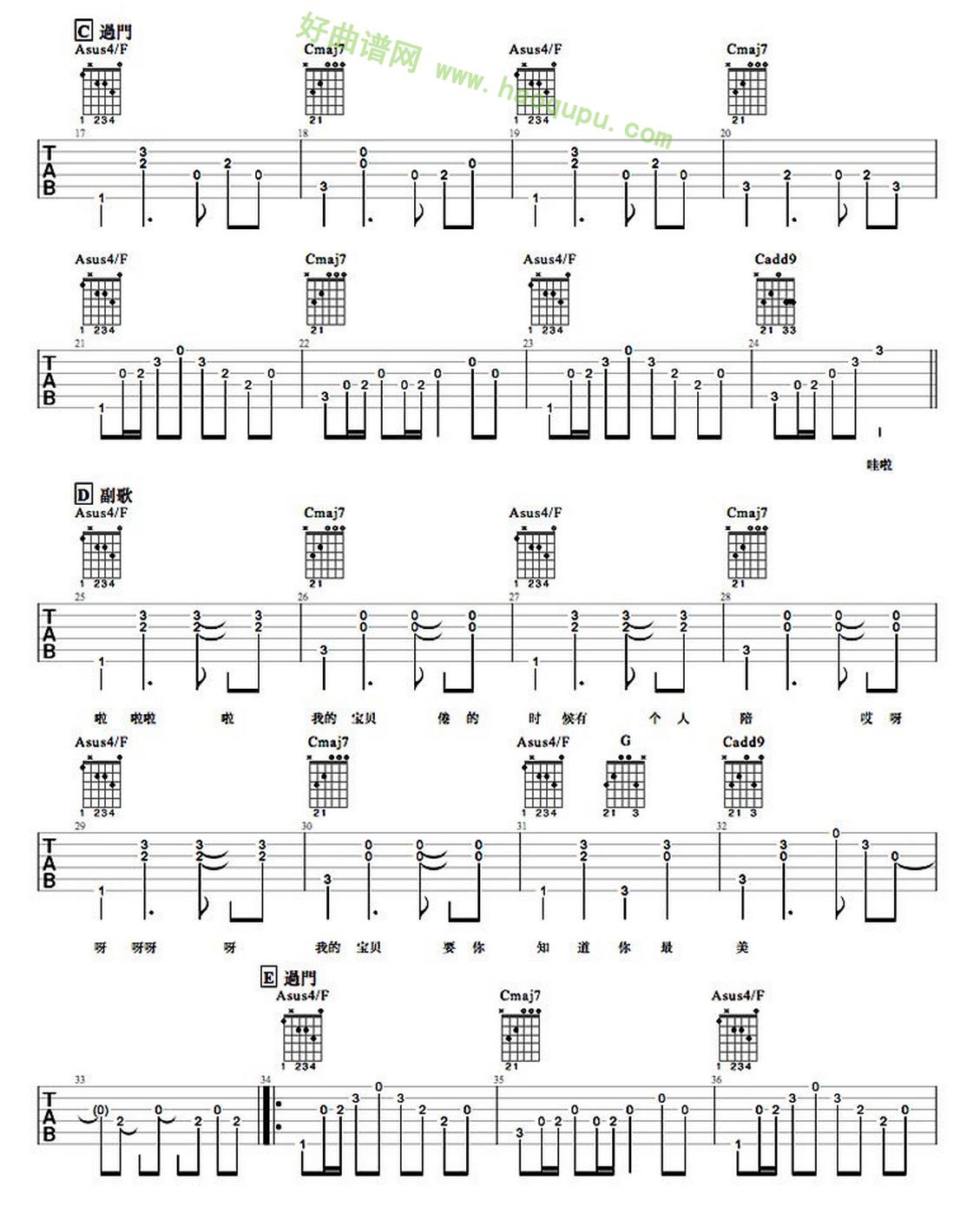 《宝贝》(张悬演唱)吉他谱第2张