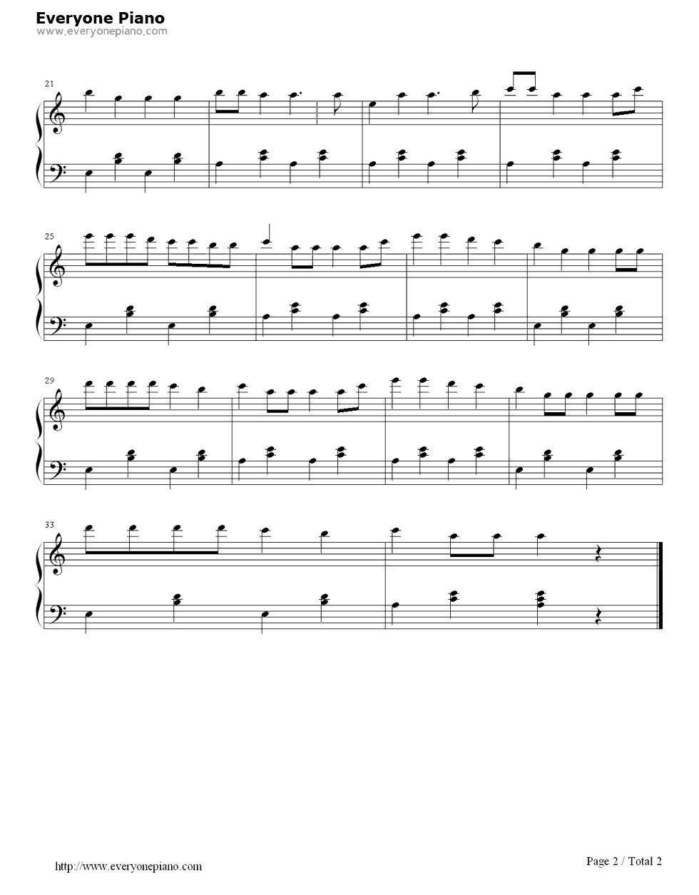 《甩葱歌》(EOP教学曲)钢琴谱第2张