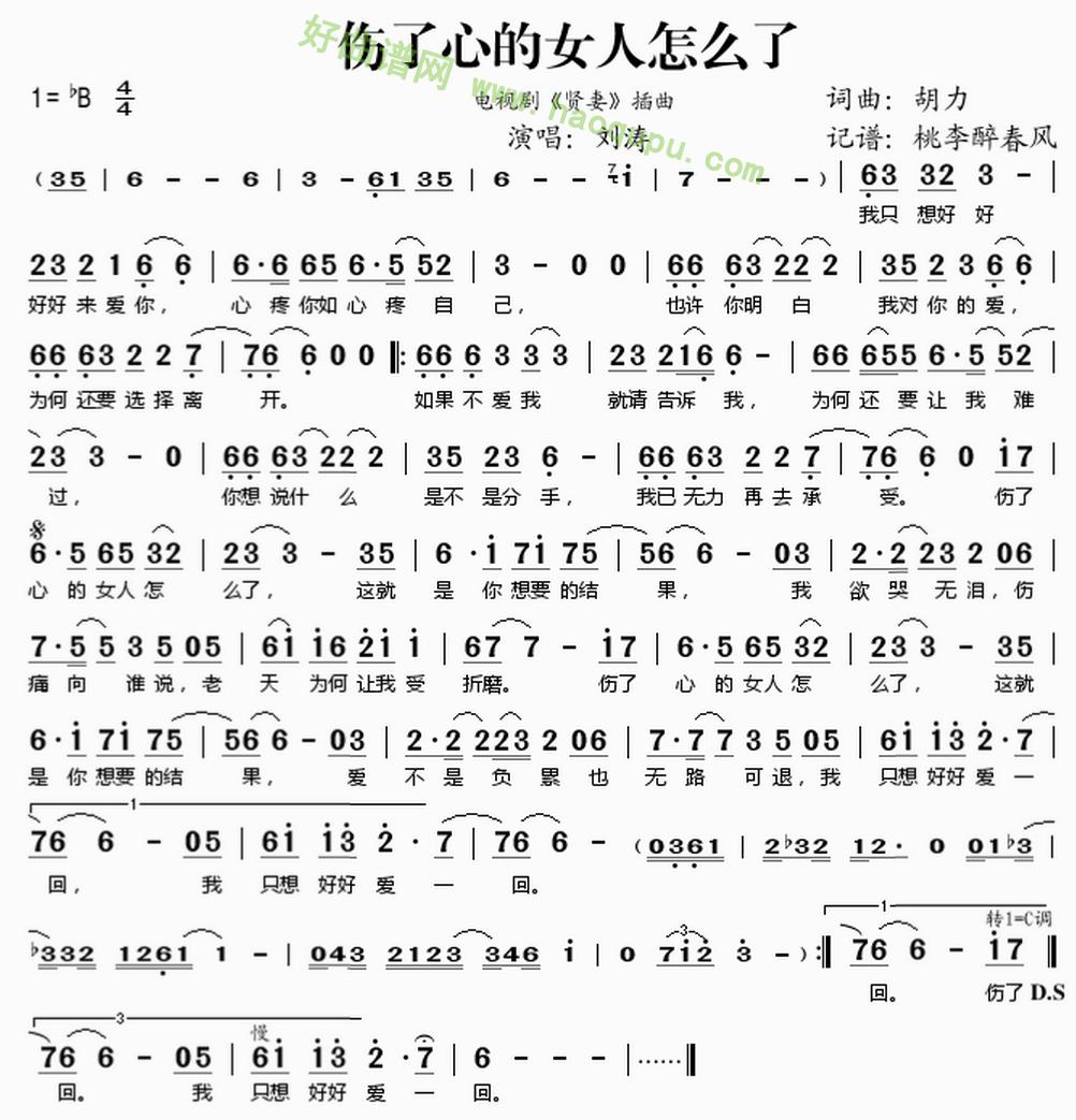 《伤了心的女人怎么了》(刘涛演唱)歌曲简谱第1张