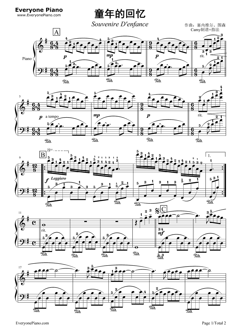 《童年的回忆》 - 钢琴谱_钢琴曲谱_钢琴歌谱 - 好