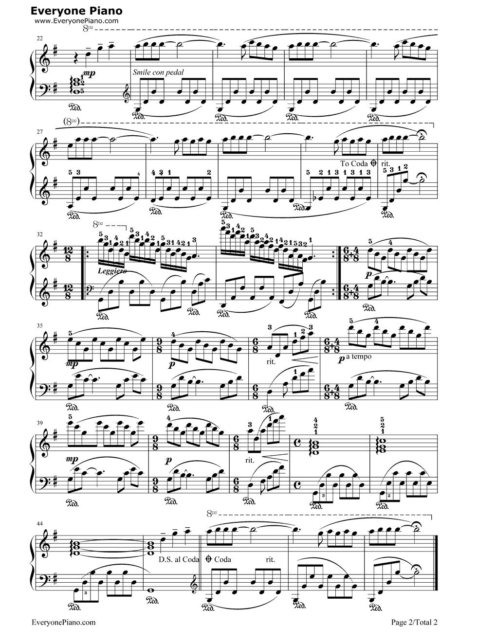 一个人的浪漫钢琴谱_《童年的回忆》钢琴谱第2张
