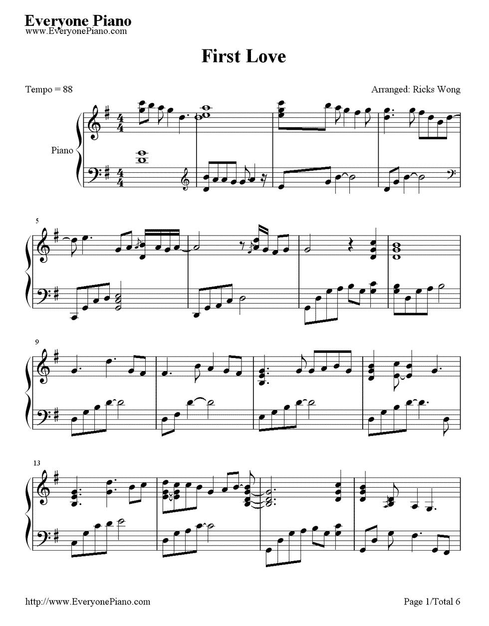《First Love》(宇多田光演唱)钢琴谱第1张