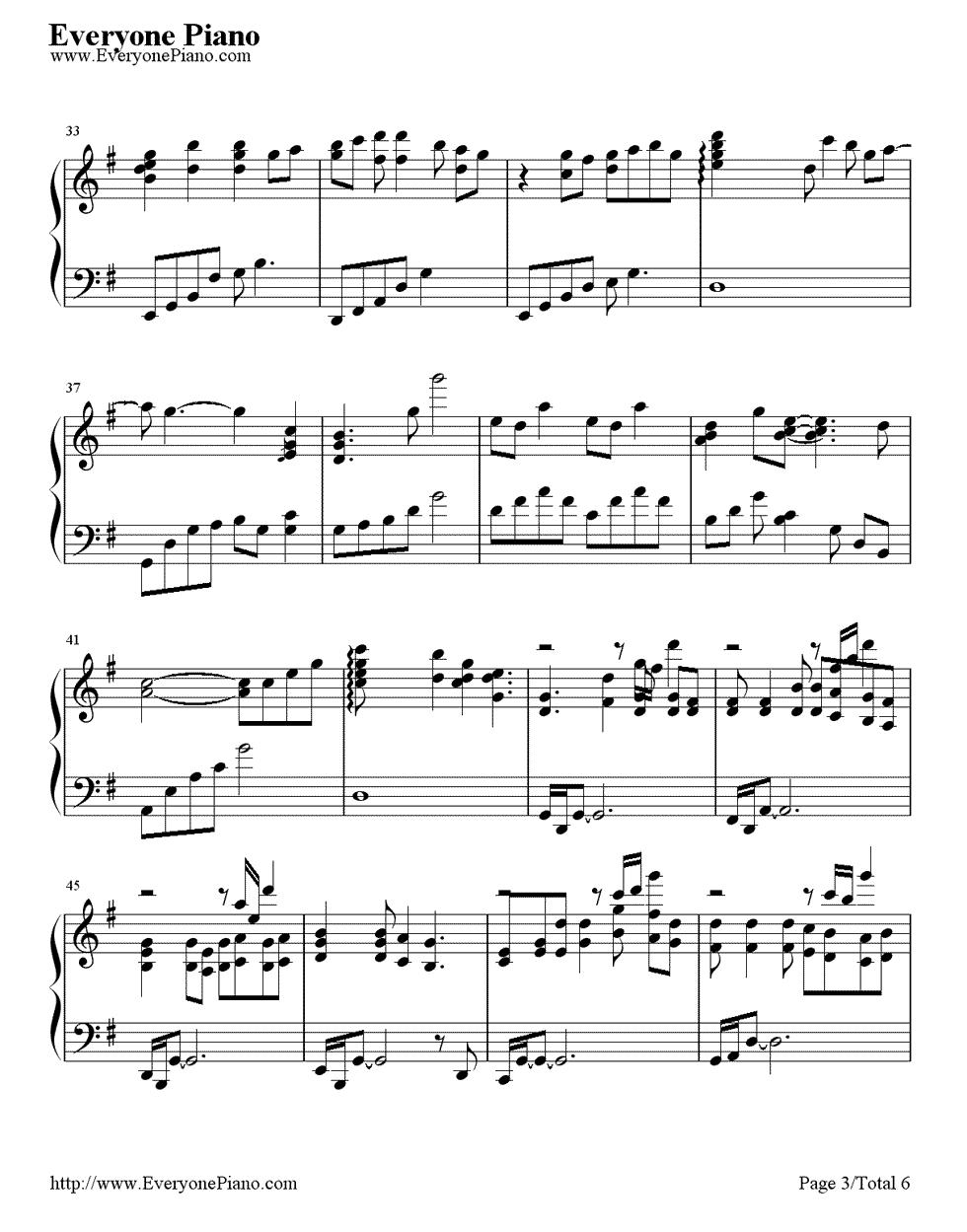 《First Love》(宇多田光演唱)钢琴谱第3张